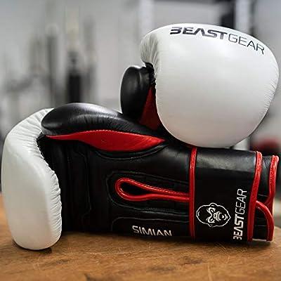 Beast Gear Guantes de Boxeo - Modelo Simian Guantes de Entrenamiento de Cuero de Vaca Genuino - para Saco de Boxeo, Almohadillas y Guantes de Combate - 12oz: Amazon.es: Deportes y aire libre
