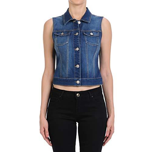 (Fashion2Love Women's Junior Sleeveless Button Up Cropped Denim Vest Jacket in M. Blue Size S)