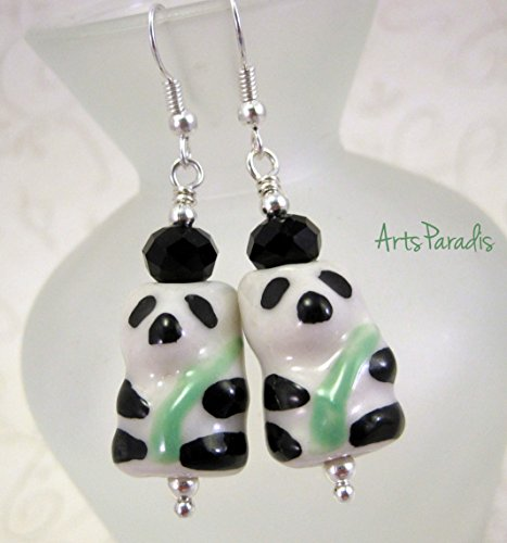 Bamboo Dangle - Small Black and White Chinese Ceramic Panda and Bamboo with Crystal Dangle Earrings by ArtsParadis