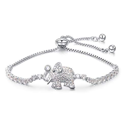 Elephant Zirconia Cubic - Mishow Fashion Adjustable Chain Bracelet for Women Cubic Zirconia Elephant Charm Bracelet, 2 Colors