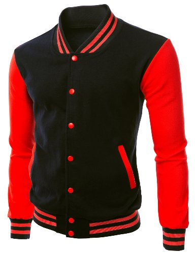 (Stylish Color Contrast Long Sleeves Varsity Jacket Black Red Size L)