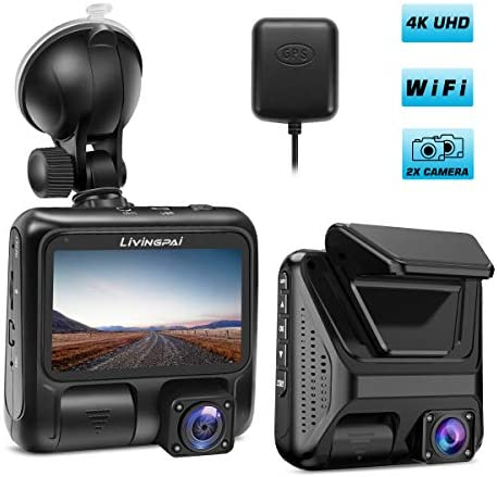 Dual Dash Cam 4K Front and Interior Car Camera 1080P 1080P 3 LCD Screen with Wi-Fi GPS 170 Wide Angle Pro Dash Camera for Cars Truck Taxi with Night Vision Parking Mode G-Sensor WDR Loop Recording