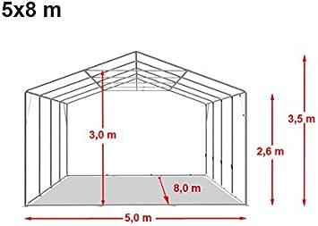 Carpa XXL pérgolas 5 x 8 m, calidad 550 g/m² lona de PVC en color verde oscuro, 100% impermeable, vollverzinkte estructura de acero con verbolzung, aspecto Altura aprox. 2,6 m: Amazon.es: Jardín