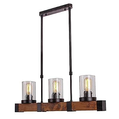 Anmytek Metal, Wood and Glass Chandelier Pendent Light, Retro Rustic Loft Antique Lamp Edison Vintage Pipe Sconce Decorative Light Fixtures and Ceiling Light Luminaire