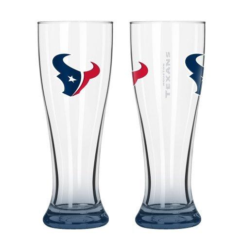 NFL Football Elite Series Pilsner Glasses - 16 ounce Hourglass Pints, Set of 2 (Texans)