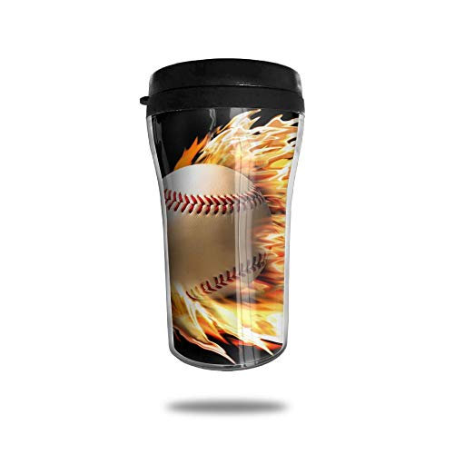 HJGKFL Fire Baseball Wallpaper Ice Coffee Small Coffee Cup Carrying Hand Cup Reusable Plastic Curve Travel Cup Coffee Cup Asymmetric Men Children Teen Adult