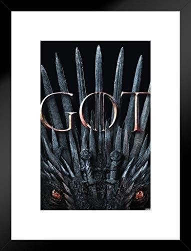 Pyramid America Game Of Thrones Season 8 Iron Throne Got Dragon Eyes Matted Framed Wall Art Print 20x26 Inch Posters Prints Amazon Com