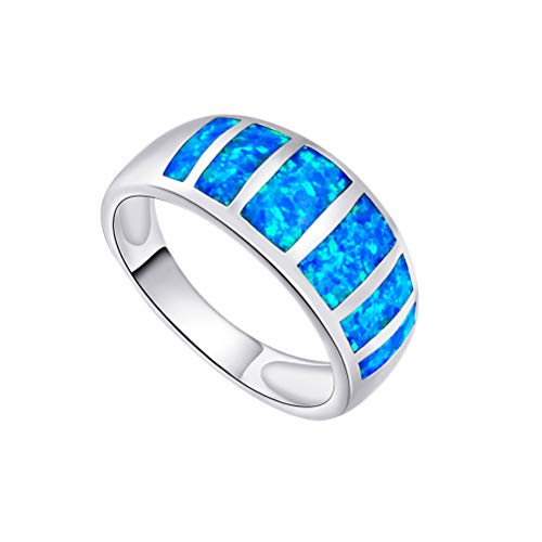 OPALBEST Blue Fire Opal Birthstone Ring Half Eternity Fashion Band White Gold Plated for Women Girls (10) ()