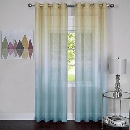 ElegantHome Set of 2 Rainbow Ombre Sheer Window Curtain Panels - Blue - (50 x 84-Inch)