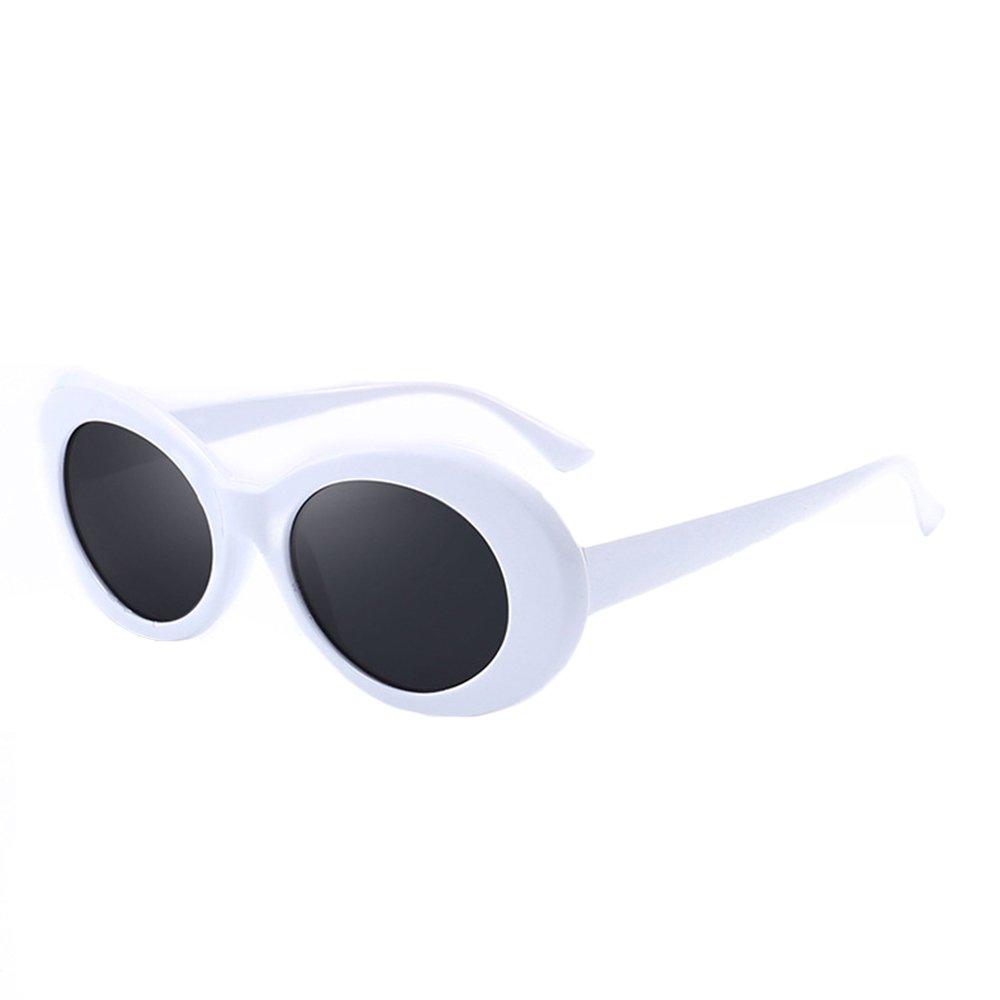 77d4de3e7b Amazon.com  BestWare Vintage Sunglasses Classic Eyeware Glasses Oval Sun  Glasses Fashion Eyewear Fashion Shades white   black  Clothing