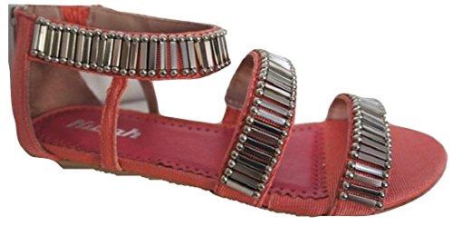 Rose vif & Style Gladiateur Argenté Plat Sandales