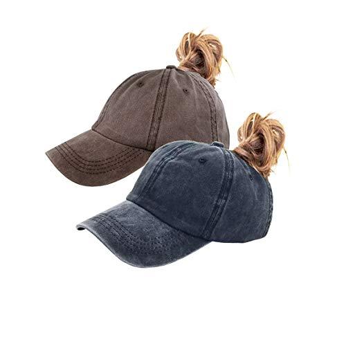 Back Ponytail Hats Ponycap Ball Caps Baseball for Women (Black+Coffee)