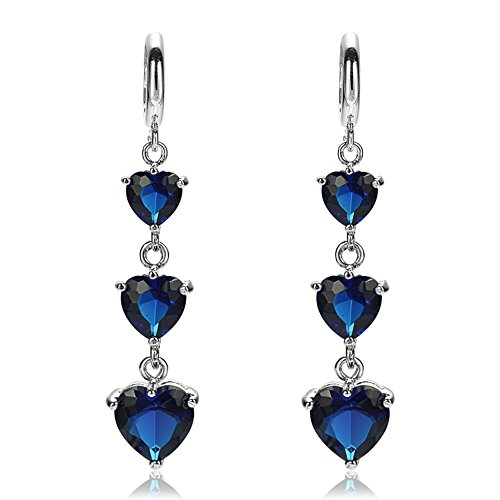 RIZILIA Three-stone Dangle Drop Pierced Earrings with Heart Cut CZ [Simulated Blue Sapphire] in White Gold Plated, Simple Modern Elegant (Earrings Dangling Cut Sapphire)