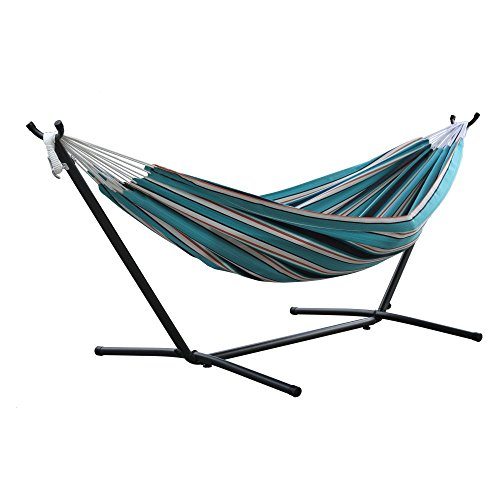 Vivere Double Sunbrella Hammock with Space-Saving Steel Stand, Token Surfside by Vivere