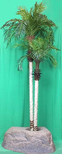(Artificial UV Rated Outdoor 8' Two Trunk Phoenix Palm Tree with Lg Rock Planter Cover, by Silk Tree Warehouse)