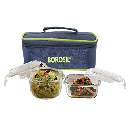 Borosil klip N Store Glass Lunch Box  320ml Square, 240ml Round Container  Set of 2 Pcs.Containers Lunch Boxes