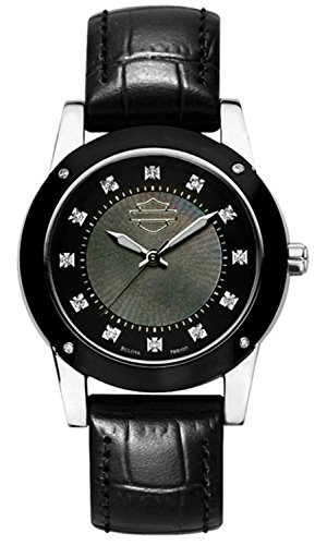 Harley-Davidson Women's Bulova Wrist 16 diamonds and domed Crystals Watch 78R100