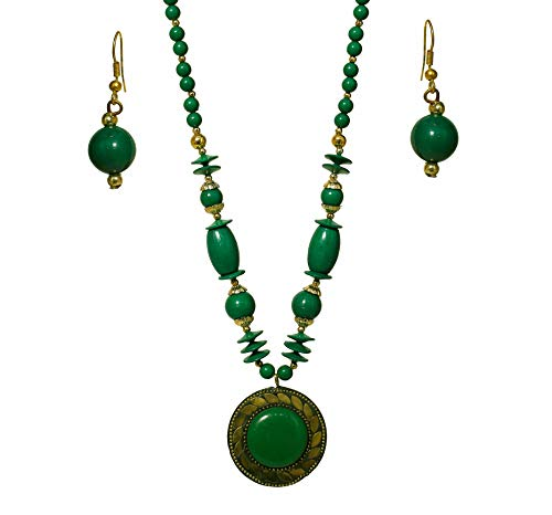 Fashion Junk Handmade Beaded African Indian Oxidized Statement Necklace Pendant Set for Women (Green)