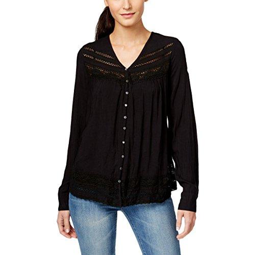 Karen Kane Womens Lace Inset Sheer Blouse Black L