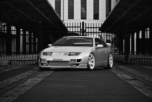 Nissan 300ZX Z32 Left Front Black and White on VOLK Wheels 2JZ-GTE HD Poster 36 X 24 Inch Print