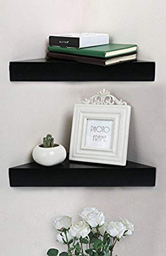 Shelving Solution Corner Wall Shelf Set of 2 Modern Black