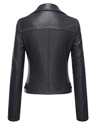 VearFit Speedo Zippy Missy Regular & Plus size black biker Genuine leather jacket for women, Large, Black by VearFit (Image #1)