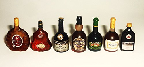 Alcohol, whiskey, brandy, cognac, liqueur. Dollhouse miniature 1:12