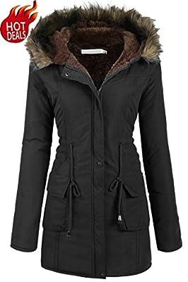 Beyove Womens Military Hooded Warm Winter Faux Fur Lined Parkas Anroaks Long Coats