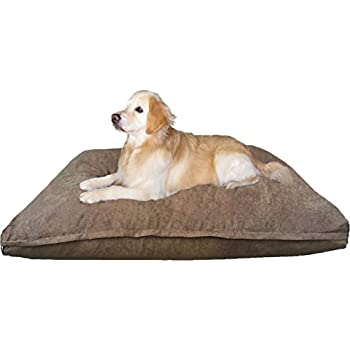 Dogbed4less XXL Extra Large Memory Foam Dog Bed Pillow with Waterproof Liner and Brown Microsuede Cover for Large Pet 55X37 Inches
