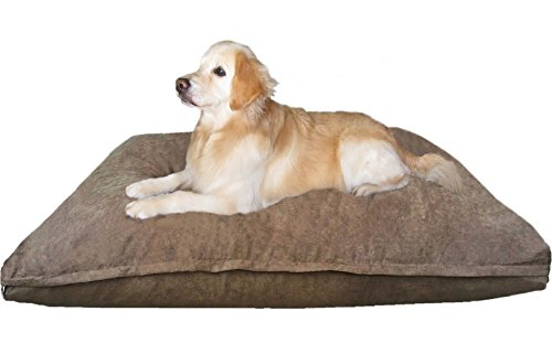 Dogbed4less Jumbo Orthopedic Extreme Comfort Memory Foam Dog Beds for Extra Large Dog, Waterproof Lining and Machine Washable Cover, 55X47 Pillow, Brown
