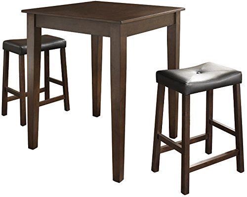 Crosley Furniture KD320008MA 3-Piece Pub Set with Tapered Leg Table and Upholstered Saddle Stools, Vintage Mahogany