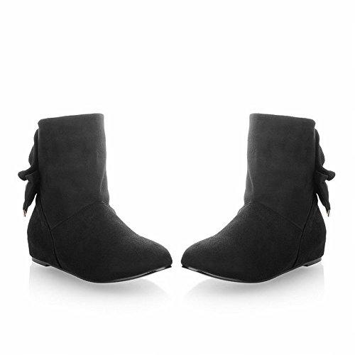 Carol Shoes Women's Elegant Concise Flat Bows Hidden Heel Short Snow Boots Black b73WQQ