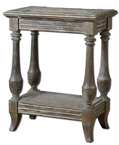 "Uttermost 24295 Mardonio Distressed Side Table, 25.0"" L x 20.0"" W x 12.0"" D, Rustic from Uttermost"