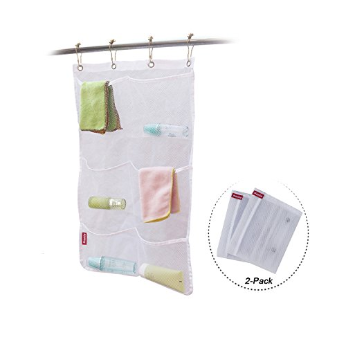 Honla 2-Pack Hanging Mesh Bath Shower Caddy Organizer with 6 Clear Storage Pockets&Large Grommets Set-Hang on Shower Curtain Rod/Liner Hooks for Bathroom Accessories Organization,Space Saving,White