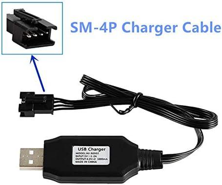 7.4V 1100Mah Li-ion Battery SM-4P Plug for UDI001 Huanqi HQ960 RC Boat HQ747 RC Car 1 Pack with USB Charging Cable