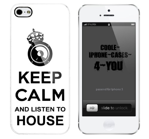 Iphone 5 Case Keep Calm and listen to House Rahmen weiss