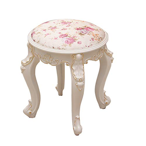 Dressing Stool/Makeup Seat/Baroque Piano Chair/Padded Bench Chair,with Plastic Steel Legs/Upholstered/High Resilience Sponge, for Dressing Room/Living Room/Bedroom,White