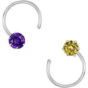 monde éblouissant 92.5-925 Sterling Silver Cubic Zirconia AD Colourful Nose Pin Stud Set for Women Girls