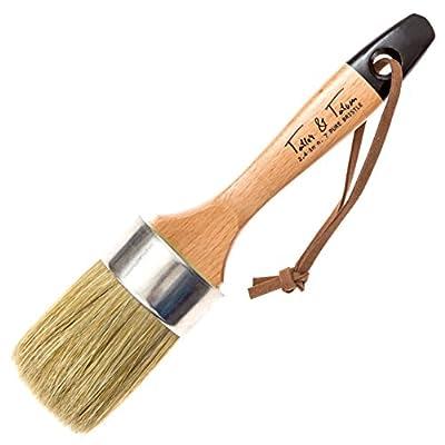 Chalk Paint Brush and Wax Brush for Furniture - Painting or Waxing - Annie Sloan Dark & Clear Soft Wax - Stencils, Folkart, Home Decor - Natural Pure Bristles by Tatler & Tatum