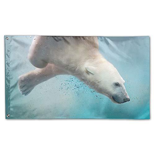 - YUANSHAN Home Garden Flag Swimming Polar Bear Polyester Flag Indoor/Outdoor Wall Banners Decorative Flag Garden Flag 3' X 5'
