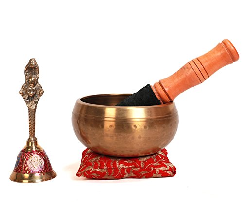 Tibetan Metal Singing Bowl Set — Newly Designed Leather Padded Mallet & Handmade Cushion Stand For Effortless Singing — Great For Calming Yoga & 7 Chakra Healing Meditation by Silent Mind & Soul