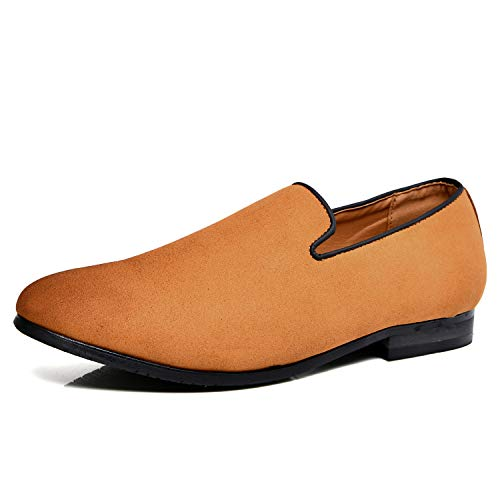 Men's Slip-on Loafers Dress Shoes PU Leather Noble Comfortable Pure Color Fashion Driving Boat Moccasins Brown