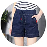 Elastic Waist Drawstring Bag Women Denim Shorts Vintage Solid Slim Fitness Girl Short Jeans Shorts