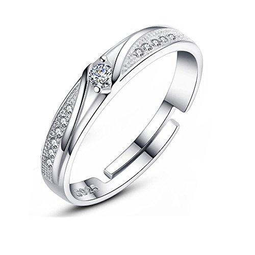 Zirkonia Verlobungsringe 925 Sterling Herz Silber Ewigkeit Amstt