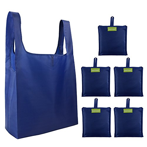 Reusable Grocery Bags Set, Grocery Tote Foldable into Attached Pouch, Ripstop Polyester Reusable Shopping Bags, Washable, Durable and Lightweight -