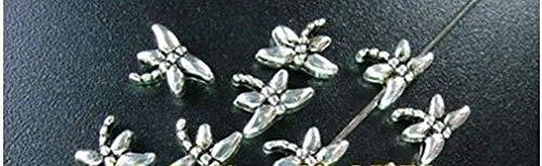 FidgetFidget 250 Pcs Tibetan Silver Tiny Dragonfly Spacer Beads FC3 ()