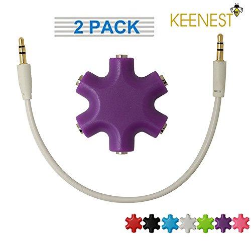 Keenest Multi Headphone Splitter 3.5mm 1 to 5 Stereo Audio Headphone Headset Earphones Splitter Adapter Converter Connector Music Sharing Device Hub 4 Phones iPad MP3/MP4 Tablets (pack of 2) (Purple - To Mp4 Converter Dvd