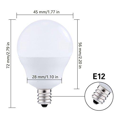 LED Light Bulbs Candelabra Base 40W Equivalent, JandCase 5W, 450lm, Natural Daylight White 4000K, G14 LED Globe Bulbs for Ceiling Fan, Vanity Mirror Light, E12 Base, 6 Pack by JandCase (Image #2)