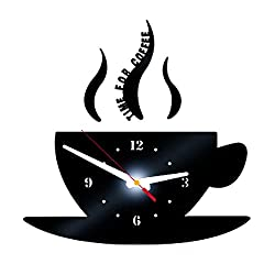 BB67 3D Mirror Clock Diy Coffee Shape Removable Wall Sticker Acrylic Clock for Home Decoration Present (Black)