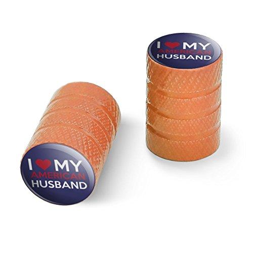 私はアメリカ人の夫を愛していますオートバイ自転車バイクタイヤリムホイールアルミバルブステムキャップ - オレンジ